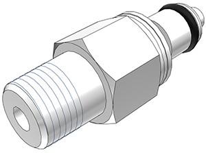 """PMCD2402BSPT - Stecker 1/8"""" BSPT Außengewinde, mit Absperrventil, Buna-N Dichtung"""