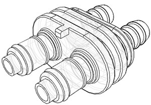DPCD22006 | Doppelstecker 9,5 mm Schlauchanschluss, Absperrung