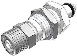 PMCD4004 - Stecker 6,4 mm AD / 4,3 mm ID Klemmringverschraubung, Plattenmontage, mit Absperrventil