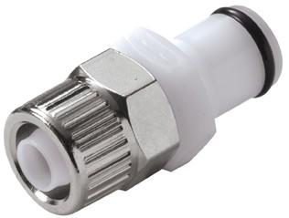 PLC20006 - Stecker 9,5mm AD / 6,4 mm ID Klemmringverschraubung, ohne Absperrventil, Buna-N Dichtung