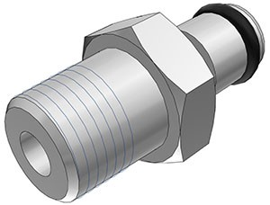 """MC2402BSPT - Stecker 1/8"""" BSPT Außengewinde, ohne Absperrventil, Buna-N Dichtung - CAD"""