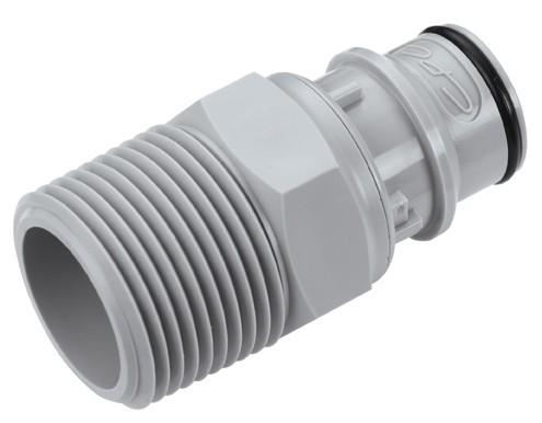 """HFCD241212 - Stecker 3/4"""" NPT Außengewinde, mit Absperrventil, EPDM-Dichtung"""