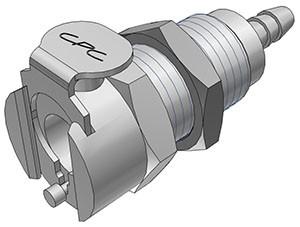 MCD1602 - Kupplung 3,2 mm Schlauchanschluss, Plattenmontage, mit Absperrventil, Buna-N Dichtung