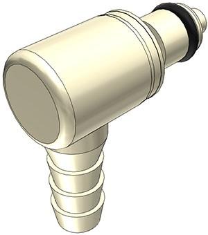 PMCD230412 - Stecker 6,4 mm Schlauchanschluss, mit Absperrventil, EPDM-Dichtung
