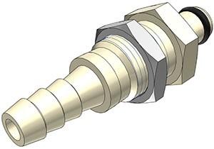 PMC420412 - Stecker 6,4 mm Schlauchanschluss, Plattenmontage, ohne Absperrventil, EPDM-Dichtung