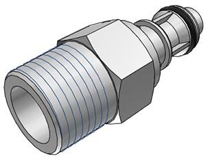 """EFCD24612 - Stecker 3/8"""" NPT Außengewinde, mit Absperrventil, EPDM-Dichtung - CAD"""