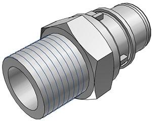 """HFCD24812 - Stecker 1/2"""" NPT Außengewinde, mit Absperrventil, EPDM-Dichtung"""