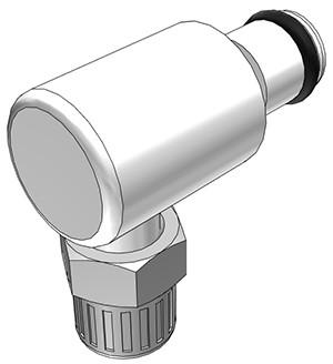 PMC21025 - Stecker 4,0 mm AD / 2,5 mm ID Klemmringverschraubung, ohne Absperrventil, Buna-N Dichtung