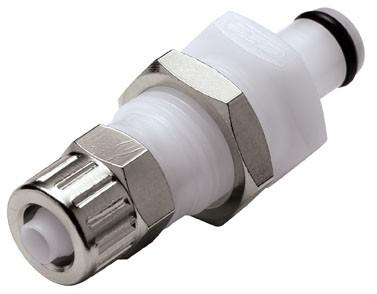 PMC4004 - Stecker 6,4 mm AD / 4,3 mm ID Klemmringverschraubung, Plattenmontage, ohne Absperrventil, Buna-N Dichtung