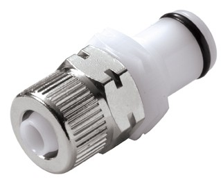 PLC200M8 - Stecker 8,0 mm AD / 6,0 mm ID Klemmringverschraubung, ohne Absperrventil, Buna-N Dichtung