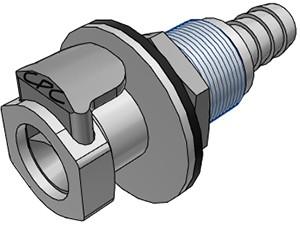 EFCD16612 - Kupplung 9,5 mm Schlauchanschluss, mit Absperrventil, Plattenmontage, EPDM-Dichtung