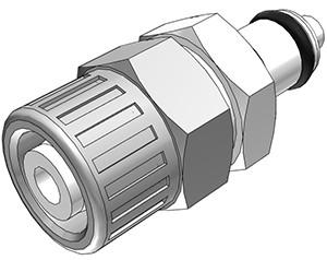 PMCD2006 - Stecker 9,5 mm AD / 6,4 mm ID Klemmringverschraubung, mit Absperrventil, Buna-N Dichtung