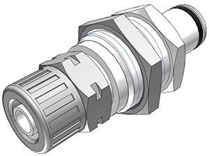 PLC400M8 - Stecker 8,0 mm AD / 6,0 mm ID Klemmringverschraubung, ohne Absperrventil, Buna-N Dichtung
