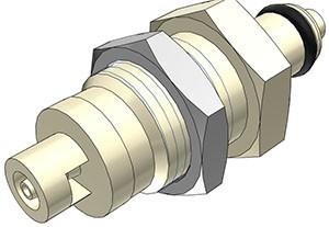 PMCD420112 - Stecker 1,6 mm Schlauchanschluss, Plattenmontage, mit Absperrventil, EPDM-Dichtung