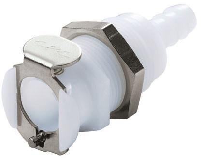 PLC16004 - Kupplung 6,4 mm Schlauchanschluss, Plattenmontage, ohne Absperrventil