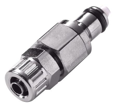 MCD2004 - Stecker 6,4 mm AD / 4,3 mm ID Klemmringverschraubung, mit Absperrventil, Buna-N Dichtung