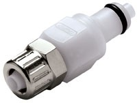 PMCD2004 - Stecker 6,4 mm AD / 4,3 mm ID Klemmringverschraubung, mit Absperrventil, Buna-N Dichtung