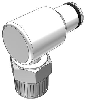 PLC21006 - Stecker 9,5 mm AD / 6,4 mm ID Klemmringverschraubung, ohne Absperrventil, Buna-N Dichtung