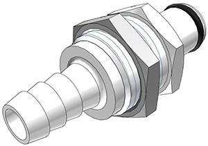 PLC42005 - Stecker 7,9 mm Schlauchanschluss, Plattenmontage, ohne Absperrventil, Buna-N Dichtung