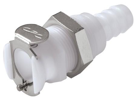 PLCD16006 - Kupplung 9,5 mm Schlauchanschluss, Plattenmontage, mit Absperrventil, Buna-N Dichtung