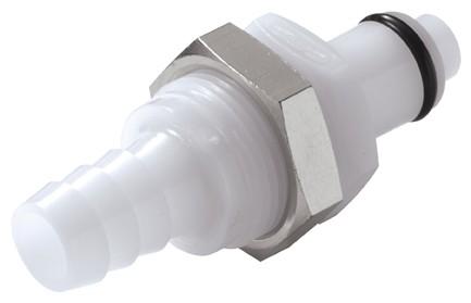 PLCD42006 - Stecker 9,5 mm Schlauchanschluss, Plattenmontage, mit Absperrventil, Buna-N Dichtung