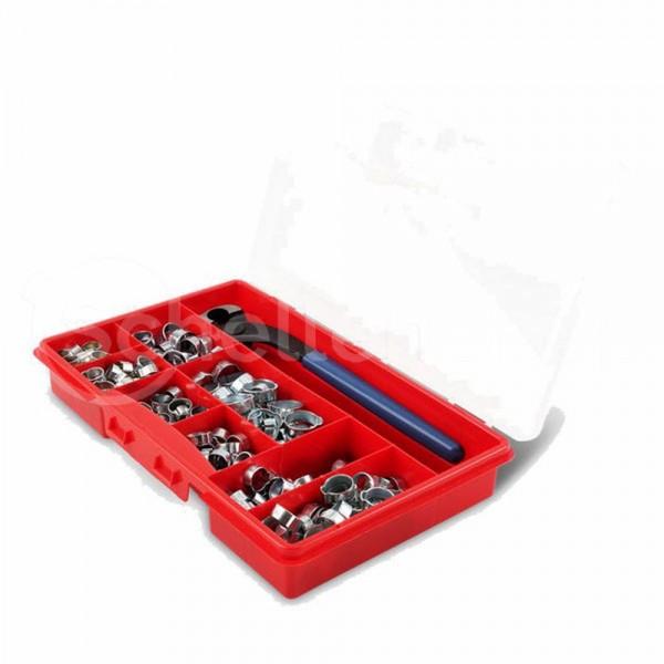ABA 1-Ohr-Klemmen Sortiment inkl. Zange | 270 Teile | verzinkt