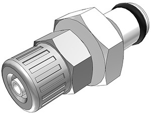 PMC20025 - Stecker 4,0 mm AD / 2,5 mm ID Klemmringverschraubung, ohne Absperrventil, Buna-N Dichtung