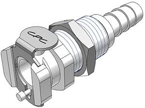 PMCD1604 - Kupplung 6,4 mm Schlauchanschluss, Plattenmontage, mit Absperrventil, Buna-N Dichtung