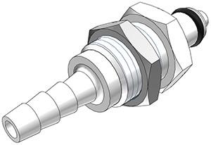 PMCD4203 - Stecker 4,8 mm Schlauchanschluss, Plattenmontage, mit Absperrventil, Buna-N Dichtung
