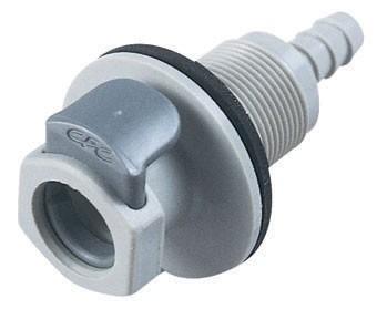 EFCD16412 - Kupplung 6,4 mm Schlauchanschluss, mit Absperrventil, Plattenmontage, EPDM-Dichtung