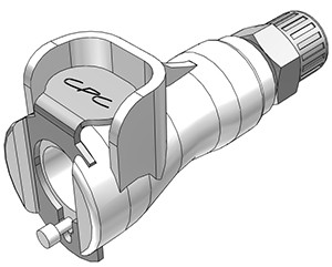 PMCD13025 - Kupplung 4,0 mm AD / 2,5 mm ID Klemmringverschraubung, mit Absperrventil, Buna-N Dichtung