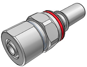 LQ6D20008RED - Stecker 9,5 mm ID / 12,7 mm AD Klemmringverschraubung, mit Absperrventil, EPDM, Rot