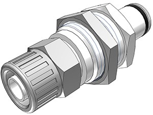 PLC40006 - Stecker 9,5mm AD / 6,4 mm ID Klemmringverschraubung, Plattenmontage, ohne Absperrventil