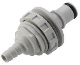 NS4D42004 - Stecker 6,4 mm Schlauchanschluss, Plattenmontage, mit Absperrventil, EPDM-Dichtung