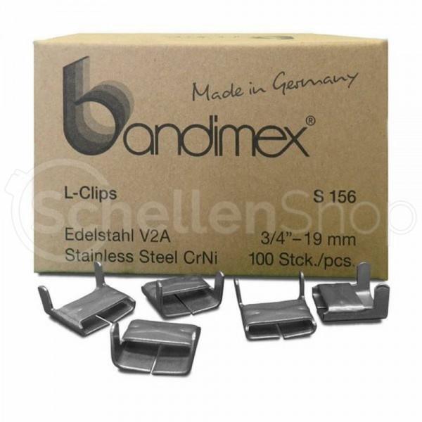 Bandimex S156 L-Clips für Bandbreite 19 mm (3⁄4″), V2A Edelstahl