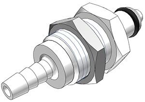 PMCD4202 - Stecker 3,2 mm Schlauchanschluss, Plattenmontage, mit Absperrventil, Buna-N Dichtung