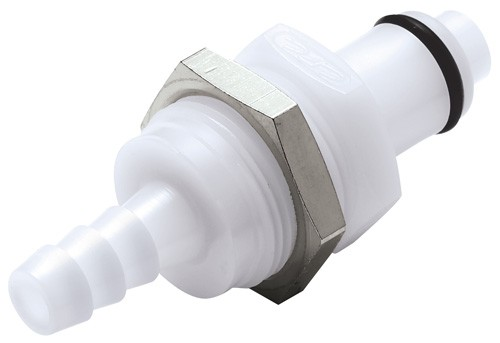 PLCD42004 - Stecker 6,4 mm Schlauchanschluss, Plattenmontage, mit Absperrventil, Buna-N Dichtung