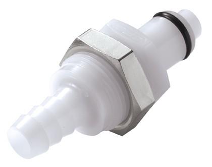 PLCD42005 - Stecker 7,9 mm Schlauchanschluss, Plattenmontage, mit Absperrventil, Buna-N Dichtung