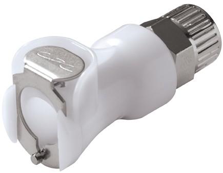 PLCD13006 - Kupplung 9,5mm AD / 6,4 mm ID Klemmringverschraubung, mit Absperrventil, Buna-N Dichtung