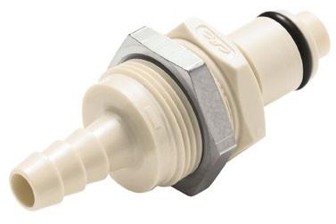 PLCD4200412 - Stecker 6,4 mm Schlauchanschluss, Plattenmontage, mit Absperrventil, EPDM-Dichtung