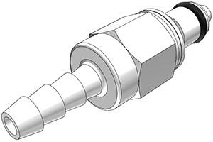 PMCD2203 - Stecker 4,8 mm Schlauchanschluss, mit Absperrventil, Buna-N Dichtung