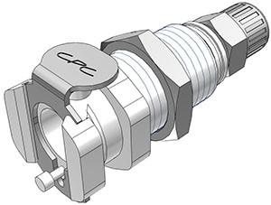 PMCD12025 - Kupplung 4,0 mm AD / 2,5 mm ID Klemmringverschraubung, Plattenmontage, mit Absperrventil, Buna-N Dichtung