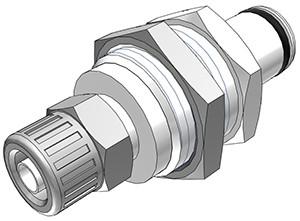 PLC40004 - Stecker 6,4 mm AD / 4,3 mm ID Klemmringverschraubung, ohne Absperrventil, Buna-N Dichtung