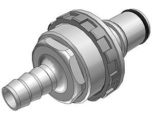 NS6D42006 - Stecker 9,5 mm Schlauchanschluss, Plattenmontage, mit Absperrventil, EPDM-Dichtung