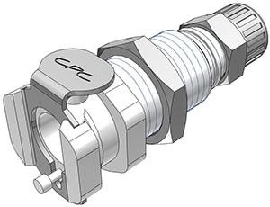 PMCD1204 - Kupplung 6,4 mm AD / 4,3 mm ID Klemmringverschraubung, Plattenmontage, mit Absperrventil, Buna-N Dichtung