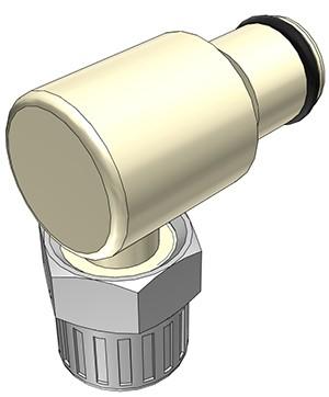 PLC2100612 - Stecker 9,5 mm AD / 6,4 mm ID Klemmringverschraubung, ohne Absperrventil, EPDM-Dichtung