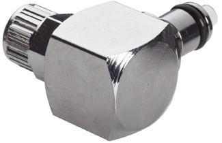 MCD2104 - Winkelstecker 6,4 mm AD / 4,3 mm ID Klemmringverschraubung, mit Absperrventil