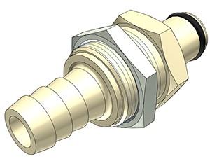 PLC4200612 - Stecker 9,5 mm Schlauchanschluss, Plattenmontage, ohne Absperrventil, EPDM-Dichtung