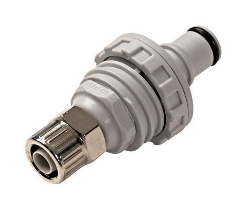 NS4D40006 - Stecker 9,5 mm AD / 6,4 mm ID Klemmringverschraubung, mit Absperrventil, EPDM-Dichtung